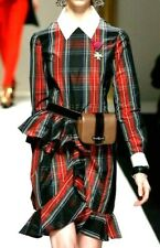 MOSCHINO Tartan Plaid Red Ruffle Collared Couture Runway Dress IT 40 / US 4 6