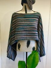 Wool Blend Greys and Blues Gorgeous Stylish Poncho Elegant Boho