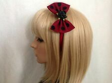 Rose headband hair bow rockabilly pin up girl gothic vintage shabby chic black