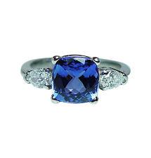 Vintage Cushion Tanzanite Pear Diamond 3 stone Ring Platinum Estate