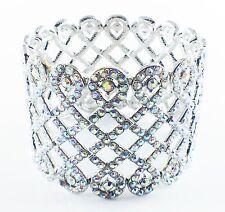 USA BRACELET use Swarovski Crystal Wedding Bridal Adjustable Silver AB