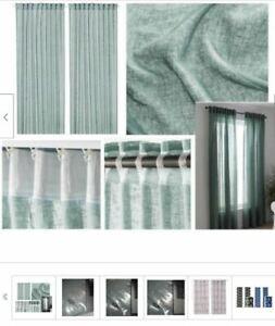 IKEA Lejongap Muted Light Green Retired 2 Curtain Panels Linen Drape NEW Sealed