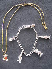 Disney Set 2 Items  Mickey Necklace & Charm Bracelet  Goofy Pluto Donald Duck