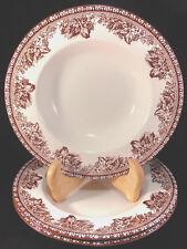3 Wedgwood Plymouth Large Rimmed Soup Bowls Williams Sonoma Oak Acorns Lattice