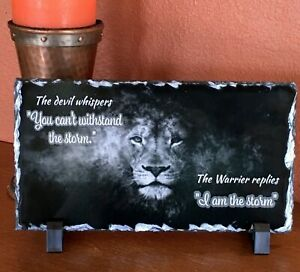 "Art Slate/Stone, ...Warrior replies ""I am the Storm"" w/black plastic stand Gift"