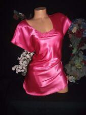 "Vtg Satin Shiny Pink SleepShirt Hot Pink Venetian lace Nightgown Luxury M 46"""