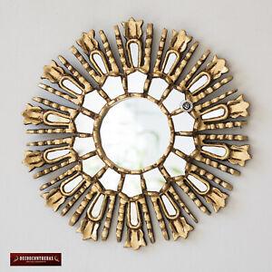 "Gold Small Sunburst Mirror 11.8"" from Peru, Hand carved Round Mirror wall decor"