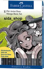 Faber Castell Tuschestift schwarz PITT artist pen Manga Black Set 8er Etui NEU