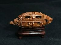 CHINESE MINIATURE CARVED HEDIAO NUT BOAT, ON STAND