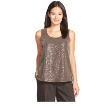 *NEW* $498 Lafayette 148 New York Cleo Sequined-Front Silk Georgette Tank Small