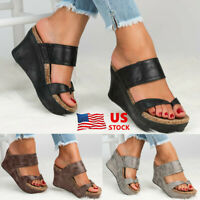 US STOCK Women Mid Wedge Slip On Comfort Summer Casual Leather Sandal Shoes Heel
