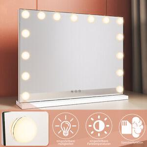 Schminkspiegel Hollywood Beleuchtet Kosmetikspiegel LED Touch mit 15 LED 3-Licht