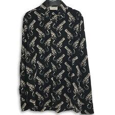 Saint Laurent Paris SS16 Gun Long Sleeve Silk Shirt 40