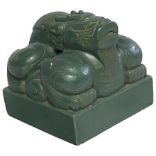 More details for fine chinese ming style green temple foo dog seal stamp sculpture