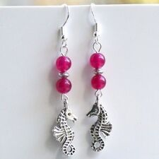 Seahorse Earrings with Sterling Silver Hooks New Pink Rose Jade Drops LB408
