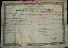 DIPLOME DE BACHELIER ES-LETTRES 1813 - PREMIER EMPIRE