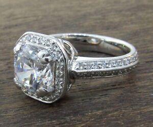 HEARTS ON FIRE Platinum Diamond Halo Engagement Ring Setting