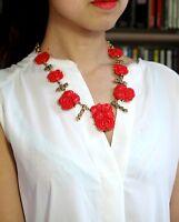 Collier Mi Long Doré Fleur Rose Rouge Retro Mariage OSC 2