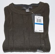 TRICOTS ST RAFAEL MEN'S CABLE KNIT CREW NECK SWEATER - XL - OLIVE HEATHER