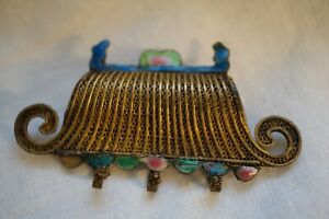 ANTIQUE CHINESE SILVER GOLD TONE ENAMEL ORNATE BROOCH