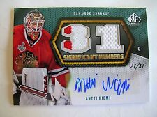 10-11 UD GAME USED SP SIGNIFICANT NUMBERS,ANTTI NIEMI,C.SN-AN.(27/31),M/NM