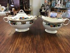1890s John Maddock & Sons China Autumn Fruit Pattern Sugar Bowl & Creamer