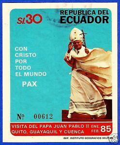 ECUADOR, BLOCK N° 115 (MICHEL CAT.), USED, POPE JOHN PAUL II VISIT ECUADOR 1985