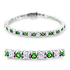 44604 7'' AAA GRADE SIMULATED DIAMOND TENNIS BRACELET EMERALD  9CTS WOMENS GREEN