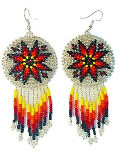 NATIVE STYLE SILVER BEADED HANDMADE LONG FASHION HOOK EARRINGS E60/56