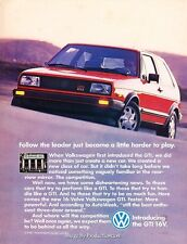 1987 VW Volkswagen GTI 16V Original Advertisement Print Art Car Ad J637