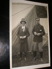 RPPC old postcard couple with their tent Llangollen c1930s