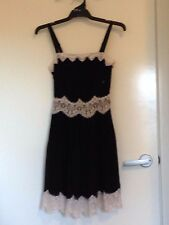 Oasis Size 8 Black Pleat Dress White Lace New with Tags