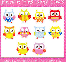 Hootie Pies Baby Owls - fun owl cross stitch chart by Pinoy - 10 designs