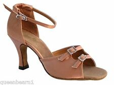 1620 Brown Satin Ballroom Salsa Mambo Latin Dance Shoes heel 3 Size 9 Very fine