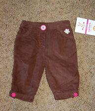 NWT Girl's Carter's Brown Embroidered Flower Corduroy Pants Size Newborn Nice!