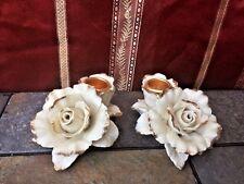 Vintage Avon China Porcelain Gold Tip White Rose Candle Taper Holders Set of 2