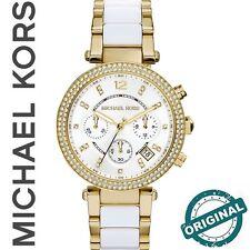 ✅ Original MICHAEL KORS Damen Uhr MK6119 Parker, weiß/goldfarben, Straß, NEU+OVP