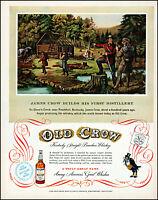 1953 Old Crow Bourbon first distillery Glenn's Creek vintage art print Ad adL43