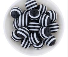30 Perlen Kugel Bastelperlen fädeln gestreift 10mm mit Loch 2mm,