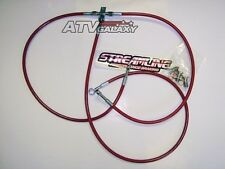 "STREAMLINE +2"" EXTENDED RED FRONT STEEL BRAIDED BRAKE LINES HONDA TRX 400EX 400X"