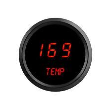 LED Digital WATER TEMPERATURE GAUGE W/ Sender RED LEDs BLACK Bezel Dash Auto USA