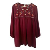 Jodifl Womens Size S Small Boho Peasant Floral Long Sleeve Tunic Blouse Top