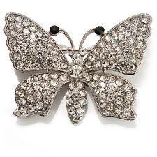 Diamante Butterfly Brooch (Silver&Clear)