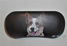 Australian Cattle Dog Red Heeler Hand Painted Eyeglass Glasses Brown Case