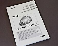 NEW - Canon HV20 Video Camera Operating Manual, Booklet - ENGLISH FRENCH SPANISH
