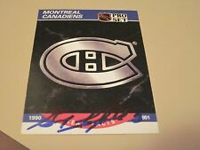 GUY LAPOINTE AUTOGRAPHED SIGNED 1990 PRO SET CANADIENS LOGO CARD-HOF