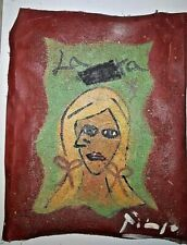 Pablo Picasso Portrait Original Painting on Canvas. Signed. Stamp on verso