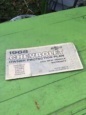 Original 1968 Chevrolet Chevelle Owner Protection Plan Protecto Plate Yenko