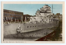 1930s Dry Dock battleship postcard; Saint John, New Brunswick, Canada