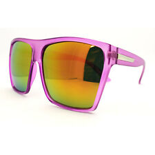 Super Oversized Square Sunglasses Clear Purple Frames Orange Mirror Lens